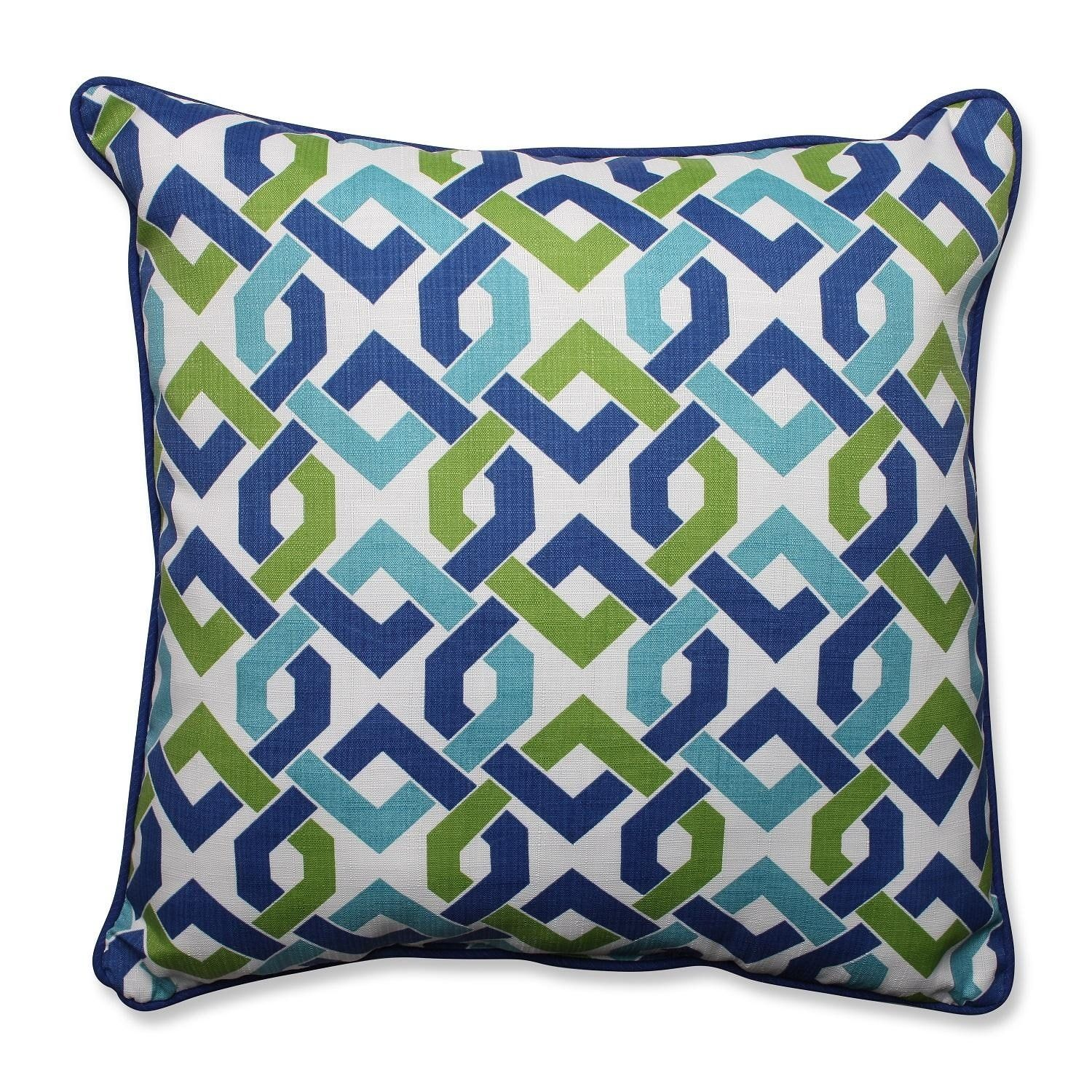 25 Interlocking Chain Royal Blue And Key Lime Green Outdoor Patio Throw Pillow Cushion