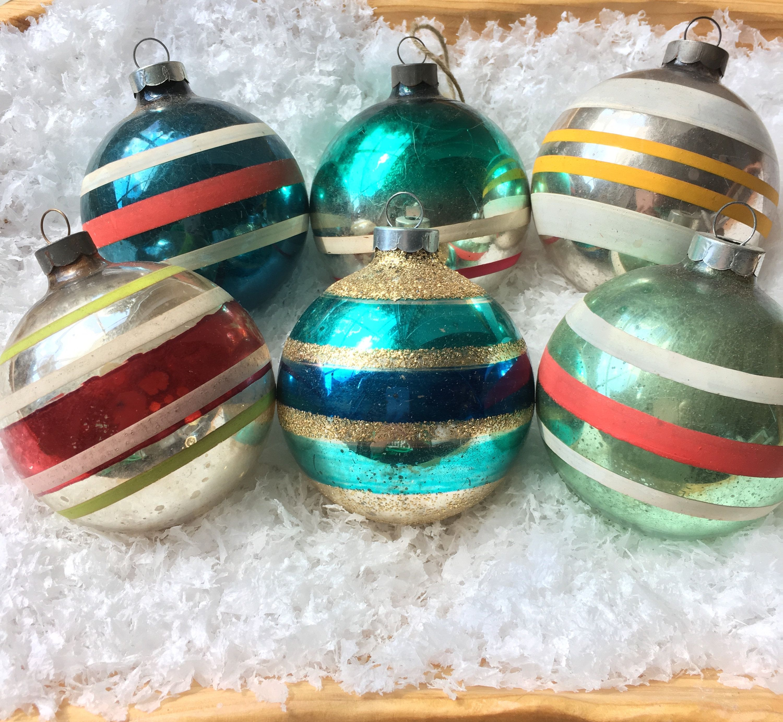 Vintage Shiny Brite Ornaments Lot Of 6 Glass Shiny Brite Stripes Vintage Christmas Ornaments Gr Shiny Brite Ornaments Vintage Christmas Ornaments Shiny Brite