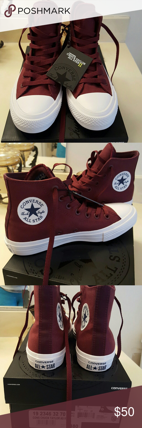 f110b9128d37  NEW  Converse Shoes  NEW  Converse Chuck Taylor All Star II high tops in  burgandy. These shoes are better quality than the usual Chucks with more  padding ...