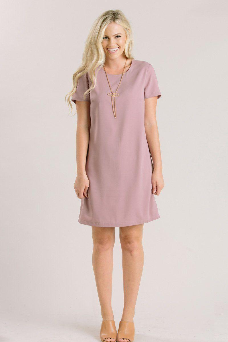 Erin Mauve Short Sleeve Shift Dress Moda Feminina Roupas Da Moda Moda [ 1200 x 800 Pixel ]