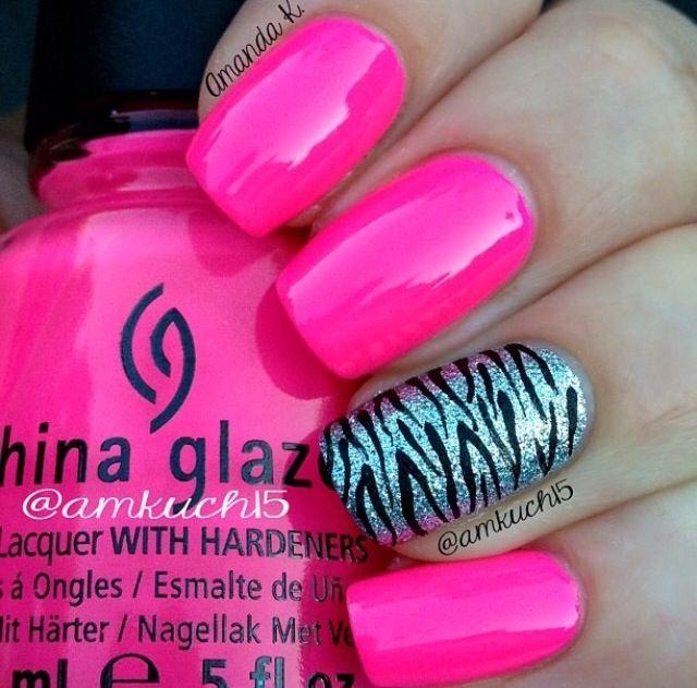 Hot pink zebra mani