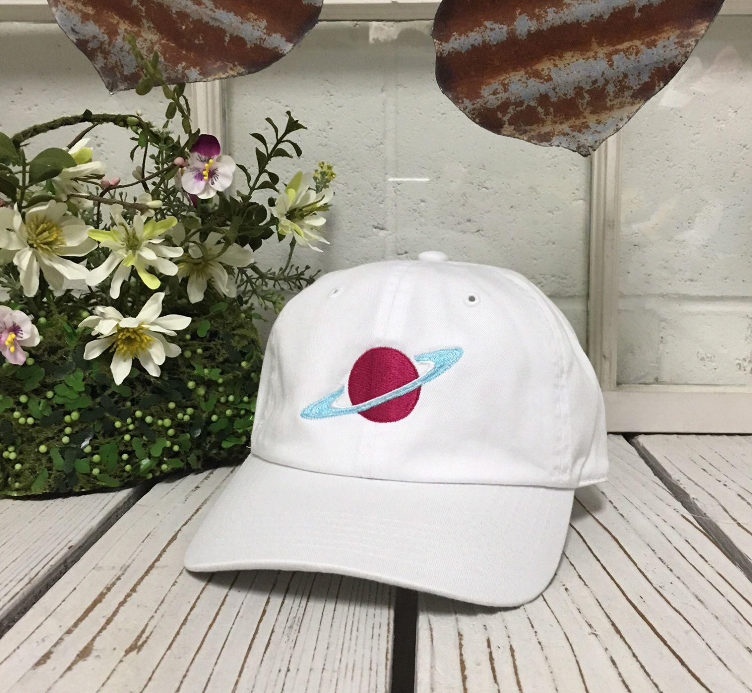 633502b9999f8 Vintage PLANET SATURN Baseball Cap Low Profile Dad Hats Baseball Hat  Embroidery White by TheHatConnection on