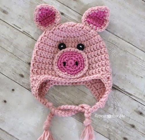 40 Crochet Animal Hat With Patterns Crochet Pig Crochet Animal Hats Crochet Hat Pattern