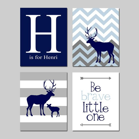 Deer Nursery Art  Stripes Chevron Deer Initial Name Be by Tessyla
