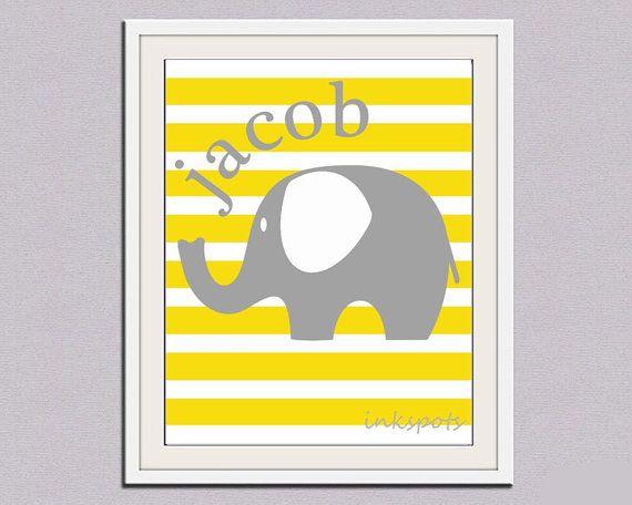 Childrens Elephant Wall Decor Elephant Nursery by inkspotsgallery ...