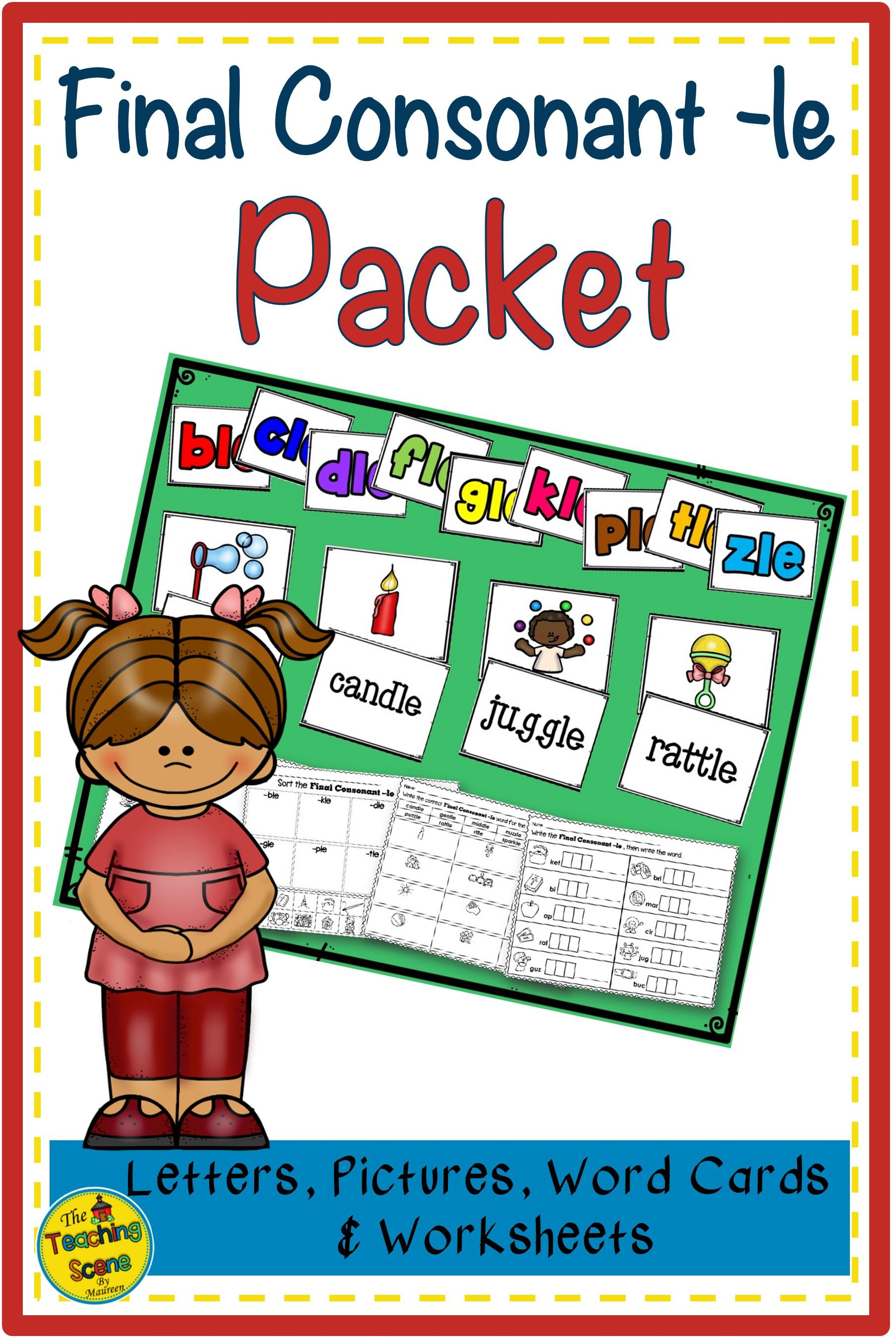 Final Consonant Le Packet Letters Pictures Words