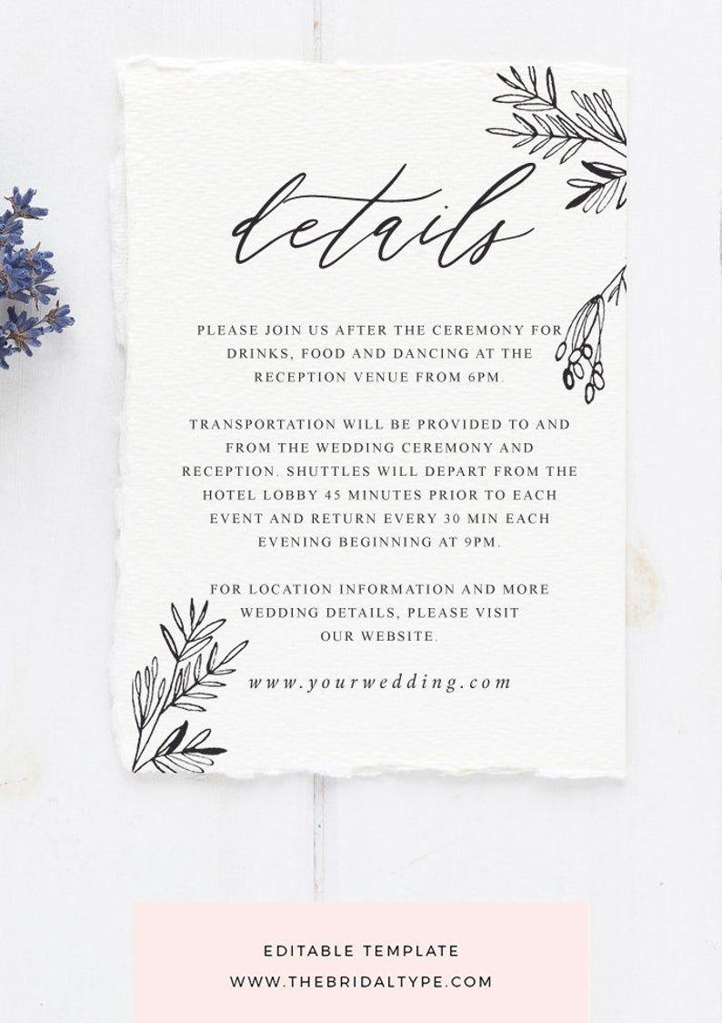 Floral Details Card Calligraphy Wedding Details Template Editable Details Wedding Card Rustic Wedding Invitation Vertical Cards 3 5x5 B7 Wedding Invitations Rustic Wedding Details Card Wedding Cards