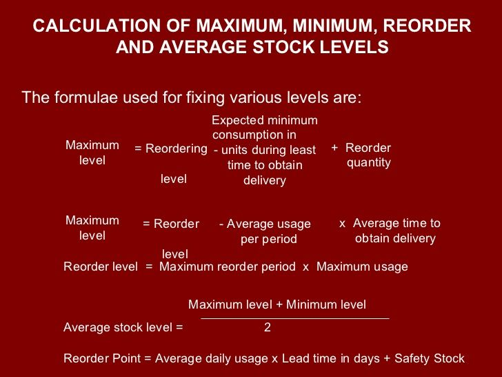 calculation of maximum  minimum  reorder and average stock levels the formulae used for fixing