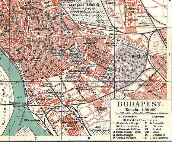 Budapest Map Vintage City Plan Hungary 1920s By Carambasvintage