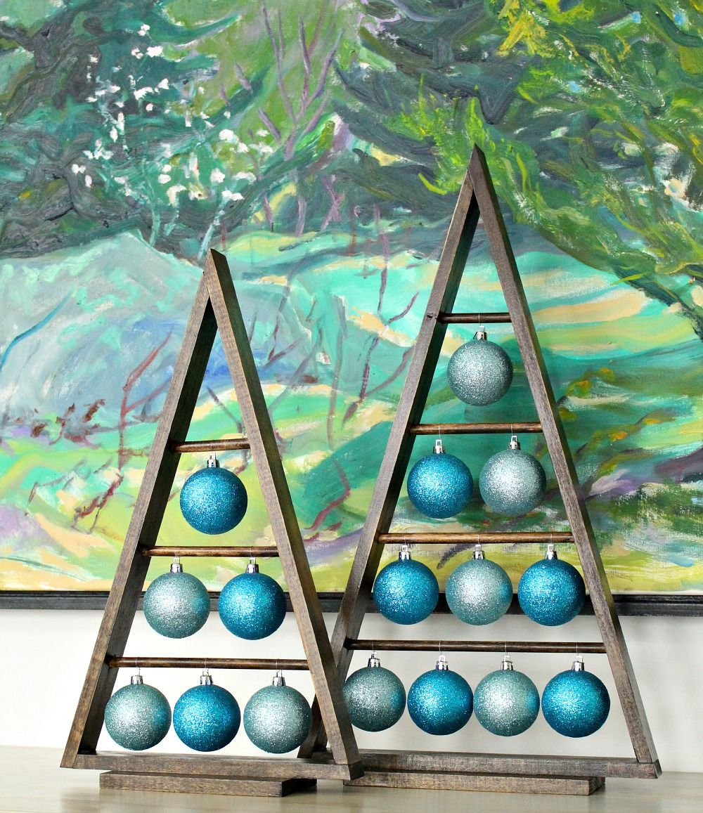 DIY Wood AFrame Triangle Ornament Stand // Inspired by