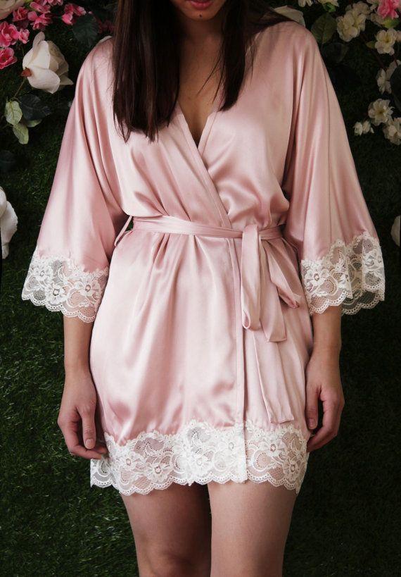 Momoko Lace Trim Satin Kimono in Blush Pink by SpurTheMoment silk ...