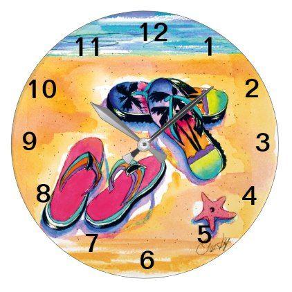 Beach Flip Flops Wall Clock