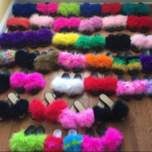 be2c771af2f27 Fur Slides Custom Made Fur Slides. Yes I make these, solid colors ...