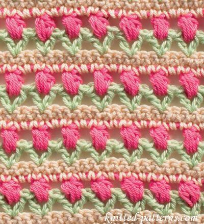 Learn A New Crochet Stitch Tulips In A Row Httpwww