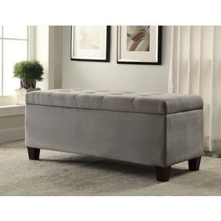 The Sole Secret Dark Grey Diamond Tufted Shoe Storage Bench