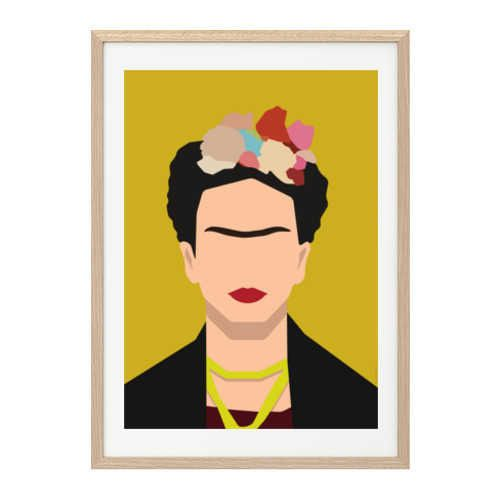 affiche d co encadrer frida khalo r tro 29 7x42cm frida kahlo pinterest illustration. Black Bedroom Furniture Sets. Home Design Ideas