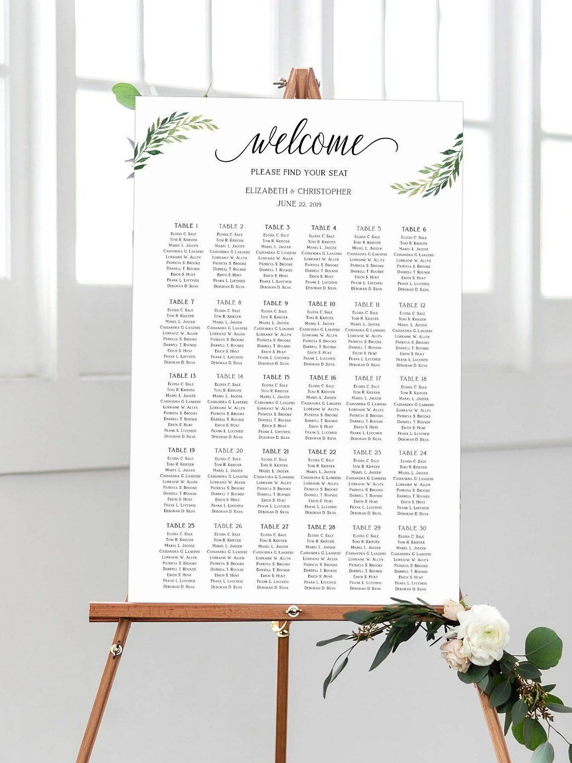 Wedding Seating Chart For 30 Tables Editable Rustic Seating Guest List Board Printa Seating Chart Wedding Reception Seating Chart Wedding Guest List Template Wedding reception seating chart template