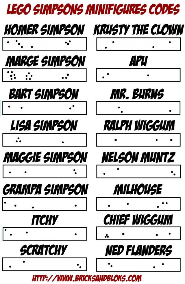 lego simpsons minifigures bump codes list for blind bags the simpsons pinterest lego simpsons. Black Bedroom Furniture Sets. Home Design Ideas