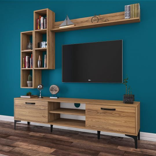 Rani A10 Duvar Rafli Kitaplikli Tv Unitesi Duvara Monte Dolapli Metal Ayakli Tv Sehpasi Ceviz M16 Dek Living Room Tv Wall Living Room Tv Stand Living Room Tv