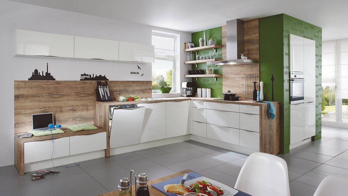 Keukenloods focus wit en hout moderne hoekkeuken met