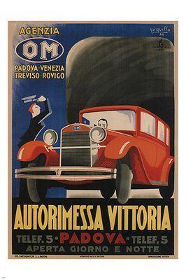 GARAGE VITTORIA vintage POSTER Piquillo Italy 1930 24X36 CLASSIC CAR rare