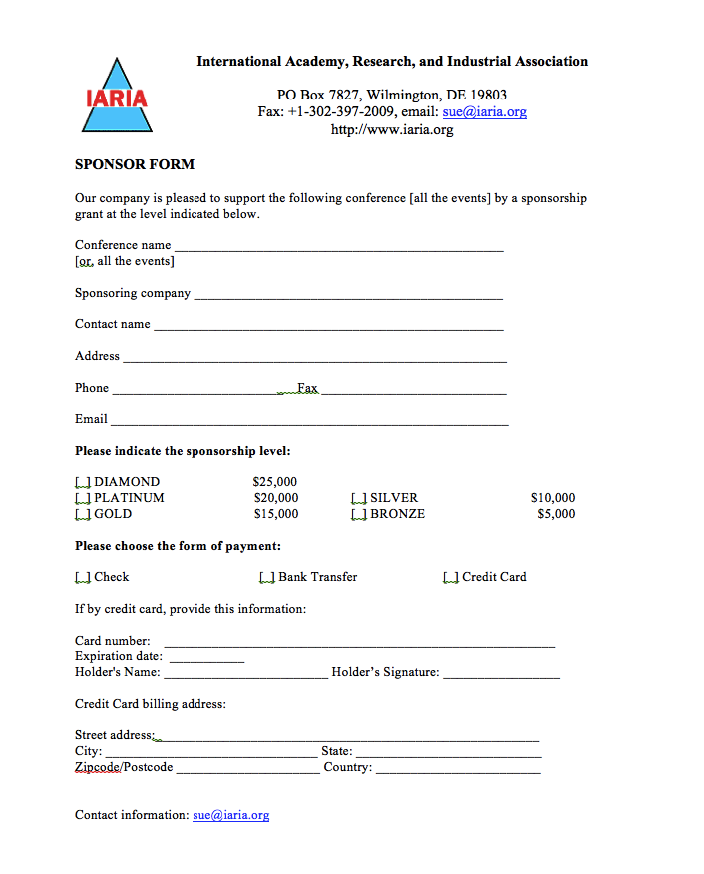 Example Of Sponsorship Form Template exampleresumecv – Sponsorship Template Form