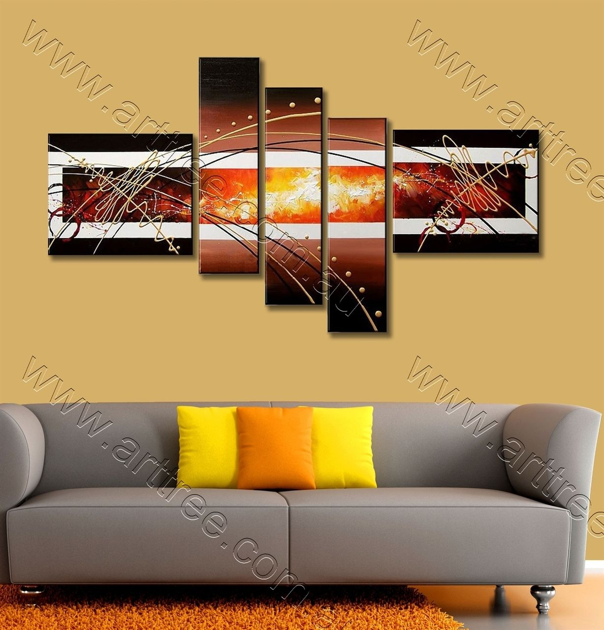 Burning Center Abstract Oil Painting | 5 Panel Canvas Painting ...