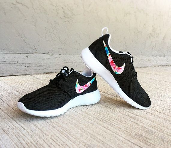 Nike Roshe Run Floral - Girls/Womens Floral Nike Roshe - Custom Nike Black  Roshe Tropical Floral V1 - Floral Nike Shoes - Custom Nike Shoes