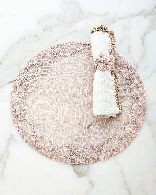 Juliska Tuileries Garden Placemat, Petticoat Napkin, & Soutache Blossom Napkin Ring