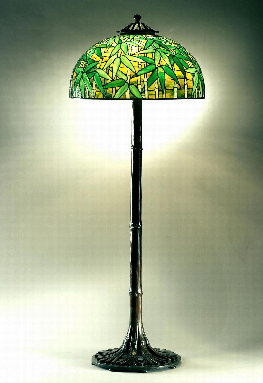 Floor Standard C 1902 Shade No 1521 Bamboo Design Dome Shape Leaded Glass Bronze