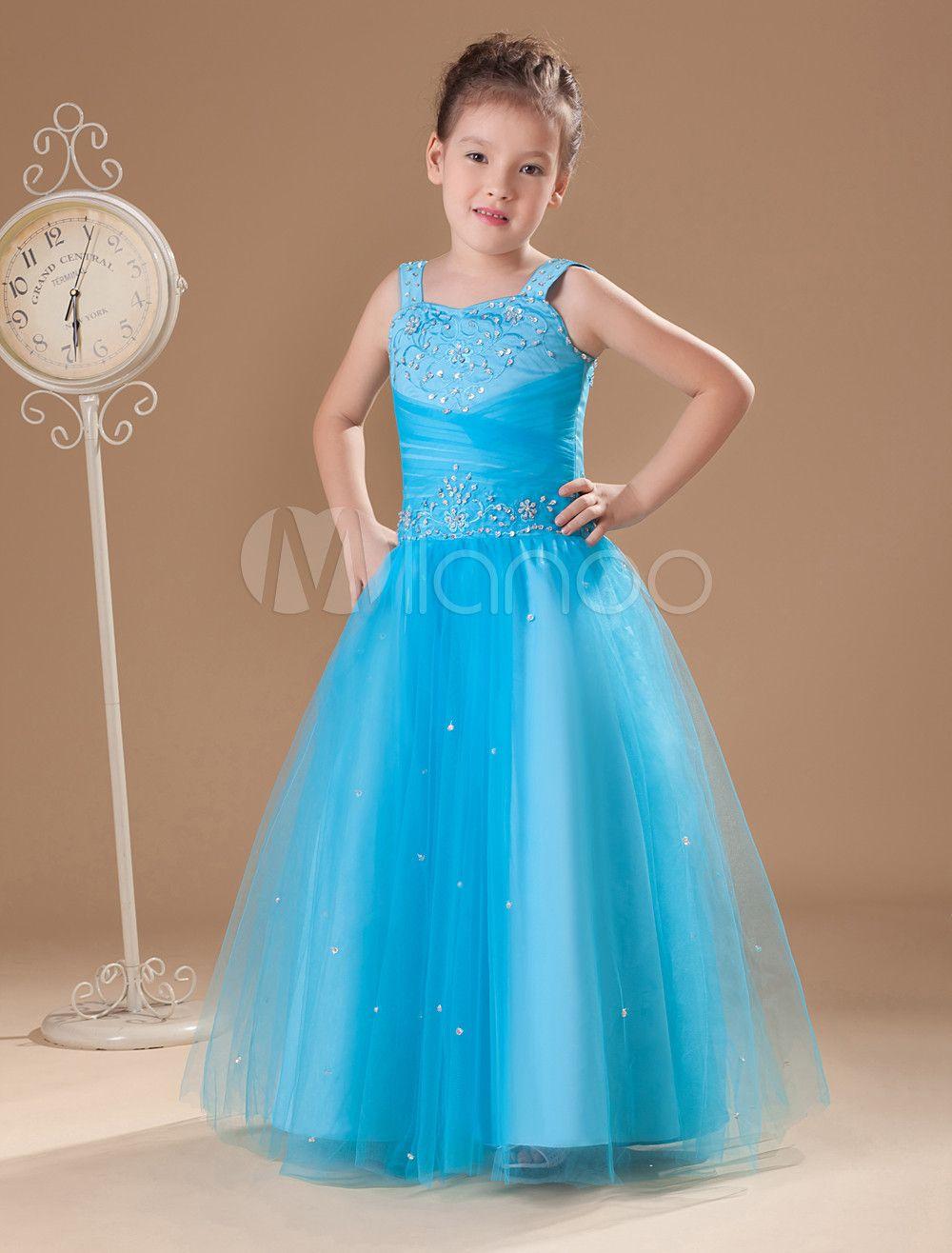 Tulle Flower Girl Dress Aqua Rhinestone Straps A Line Floor Length ...