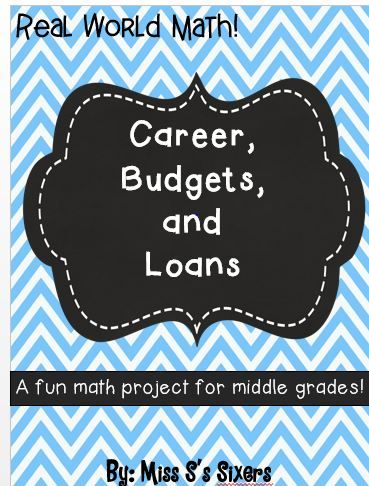 Career budgets and loans math project fun projects math and if your students are like mine they are always saying when will i ever use math in real life this engaging project will help them see that math will fandeluxe Image collections