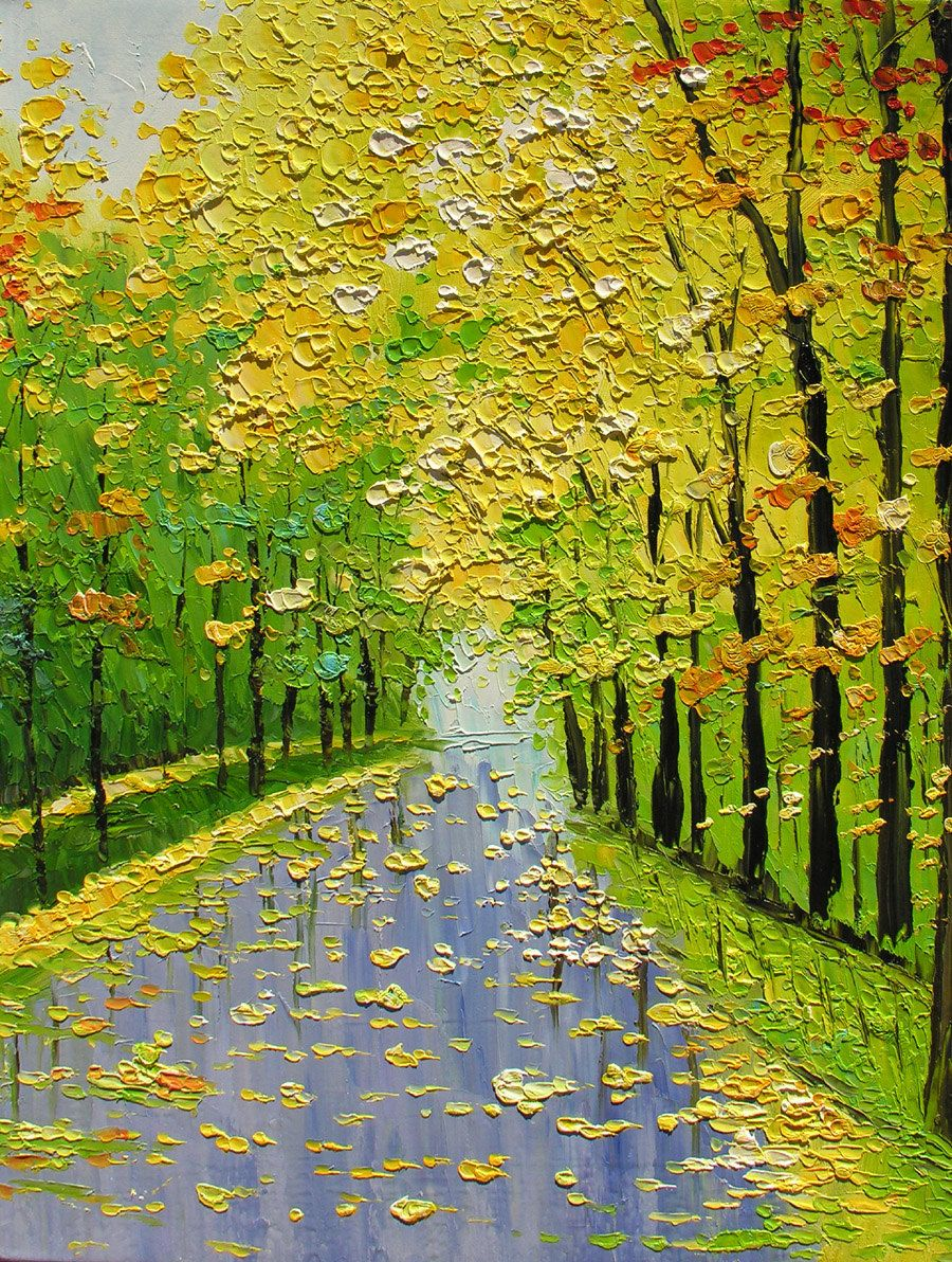 Original Oil Painting Golden Fall 30 X 23 Palette Knife Texture Colorful Trees Landscape Gold Ye Easy Landscape Paintings Landscape Paintings Art Painting Oil