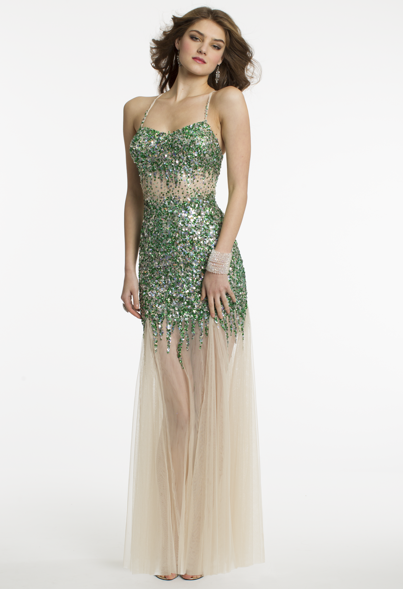 Illusion Sequin Prom Dress by Camille La Vie