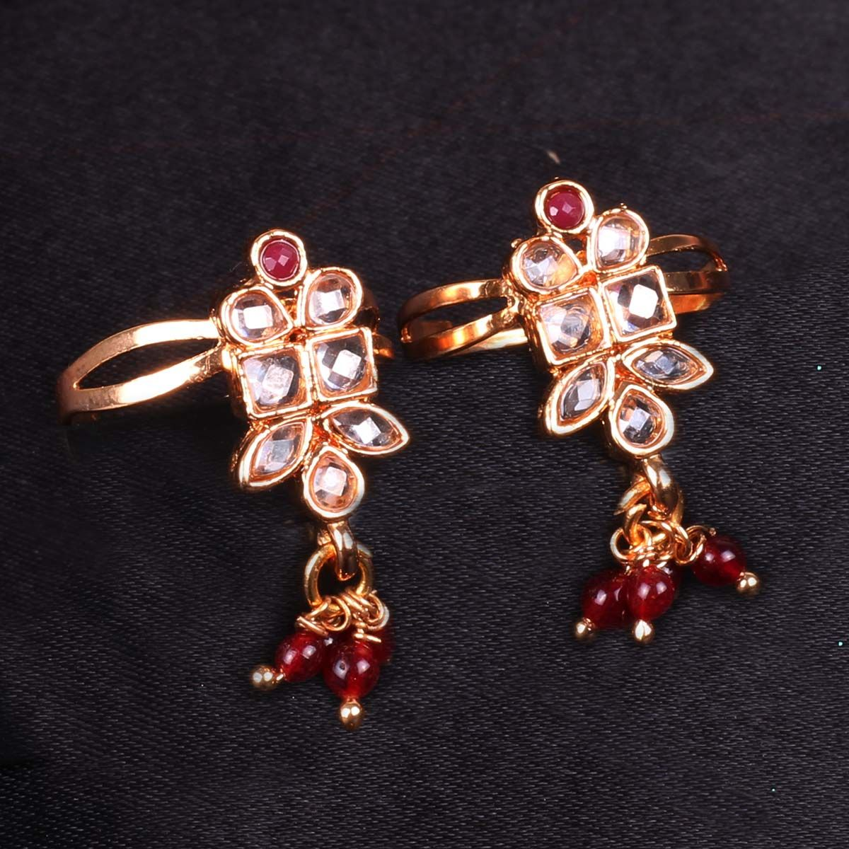 Toe Ring with white AD stones and maroon beads - WJ0049 Bridal Jewellery Toe Ring