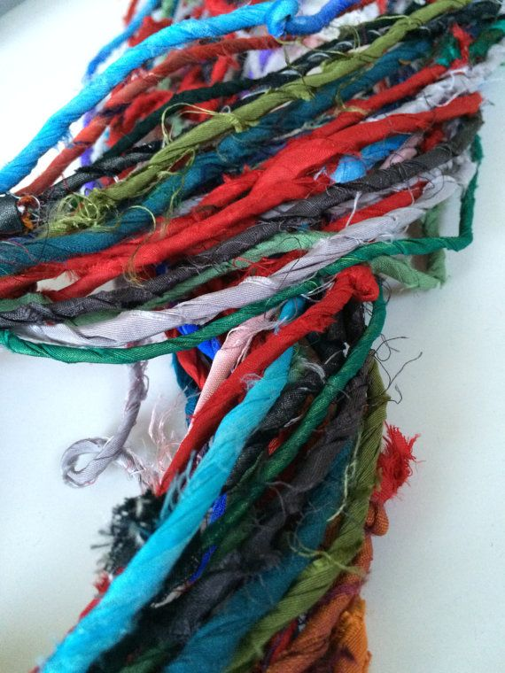 Silk fabric yarn twisted silk cord from recycled by Yarnyarnyarns
