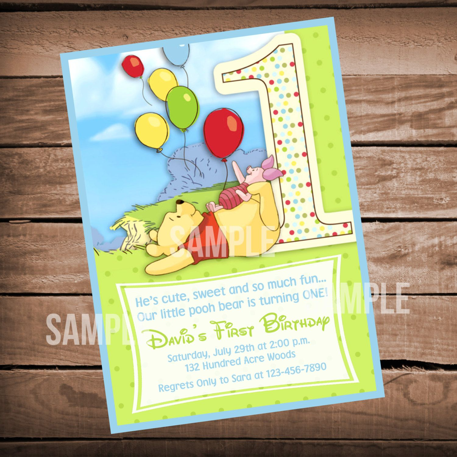 Winnie the Pooh 1st Birthday Invitation by WeAreHavingaParty