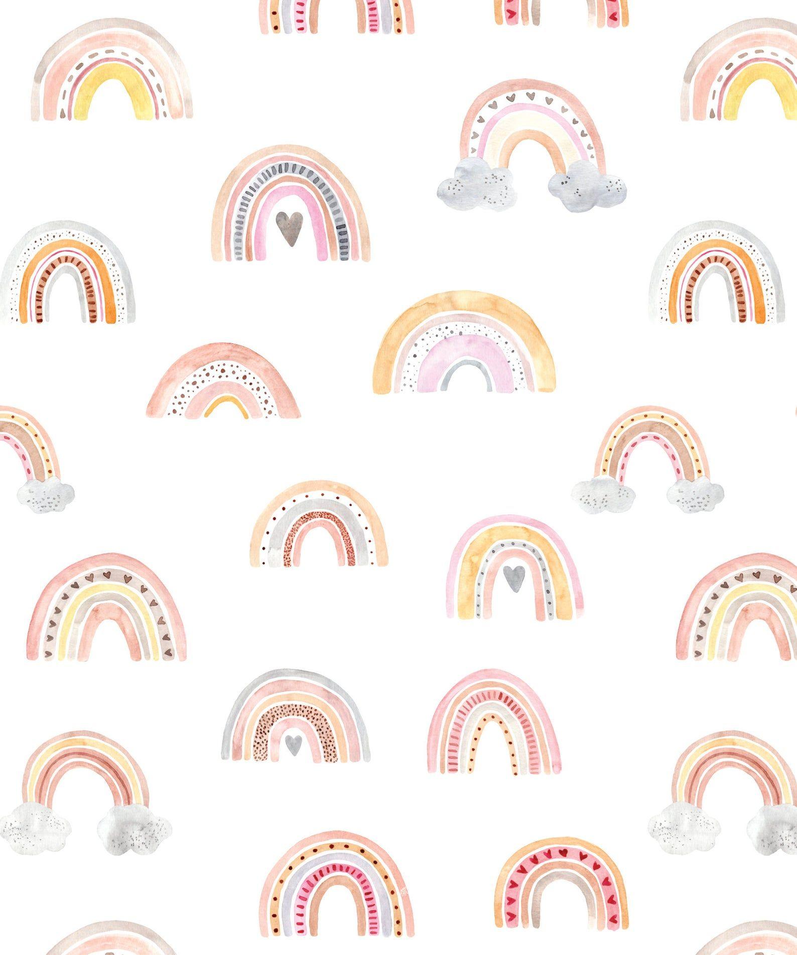Whimsical Boho Watercolor Rainbow Wallpaper Removable Etsy In 2021 Rainbow Wallpaper Rainbow Wallpaper Iphone Peel And Stick Wallpaper