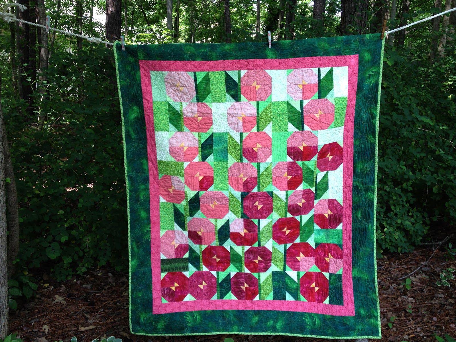 Hollyhock quilt - In Full Bloom | Plants - Flowers | Pinterest
