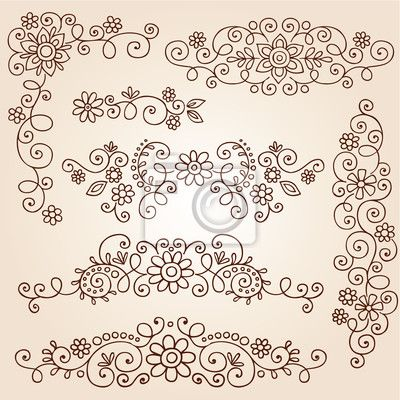 Wall Mural henna paisley tattoo doodle vector design elements - henna • PIXERSIZE.com