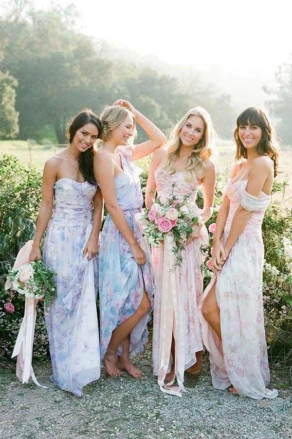 Long Mismatched Wedding Short Floral Watercolor Blush Blue Fall Summer Spring Country Vi Bridesmaid Mismatched Bridesmaid Dresses Floral Bridesmaid