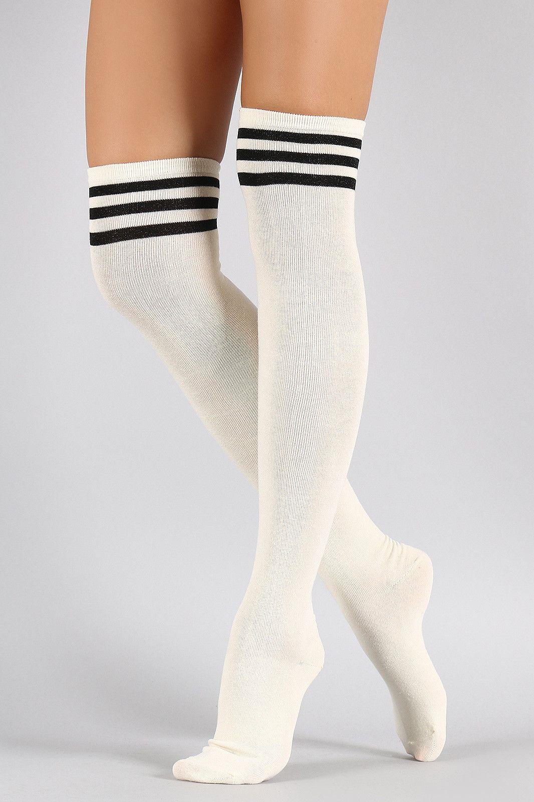 a9410fc7ef Sparkling Triple Stripe Thigh High Socks | Thigh High Socks in 2019 ...