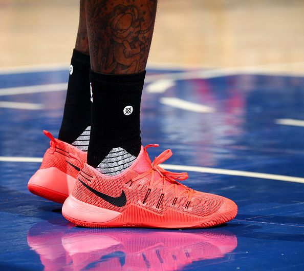 finest selection 518ac 56ae9 NEW YORK, NY - OCTOBER 10  The shoes of John Wall  2 of the Washington  Wizards are seen during a preseason game against the New York Knicks on  October 10, ...