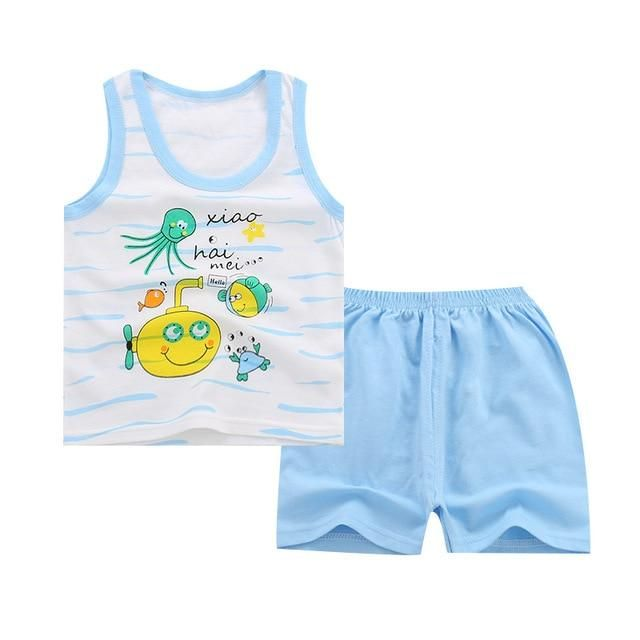 Summer 2pcs Suits Baby Boy Clothing Set Cartoon Boys Girls Vest Clothes Set Cotton Sleeveless Sports T Shirts Toddler Shorts #toddlershorts