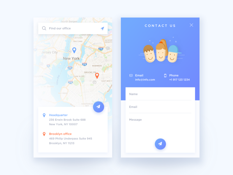 Daily UI #028 Contact Us / Daily UI #029 Map | UX Design | App ui ...