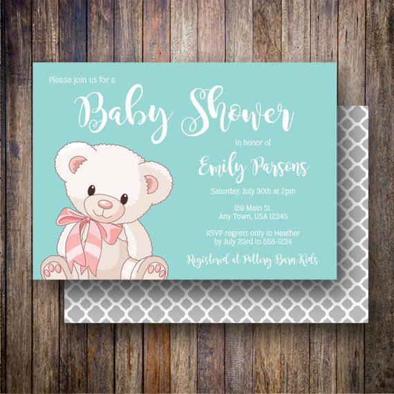 Teddy Bear Baby Shower Invitation, Teddy Bear Baby Shower Invite - printable baby shower invite