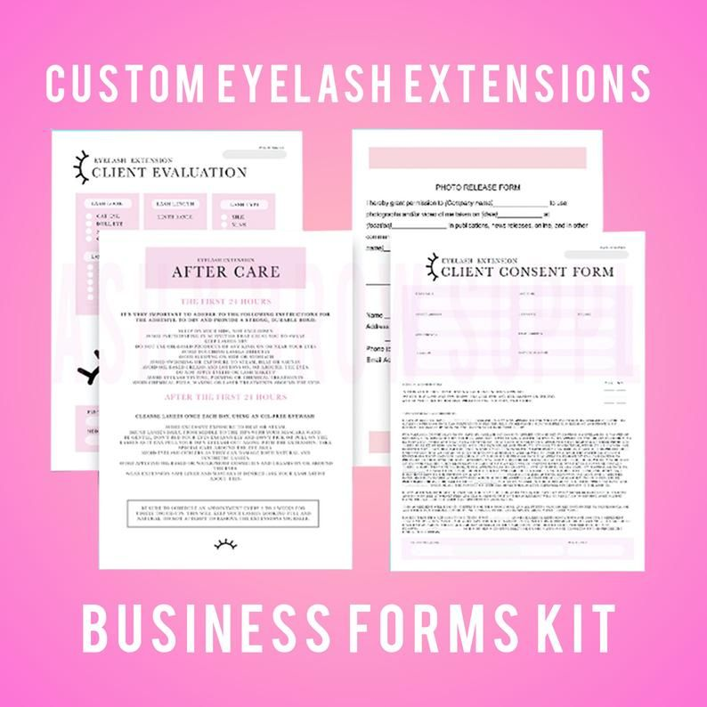 Customizable Eyelash Client Waiver Consent Form Aftercare