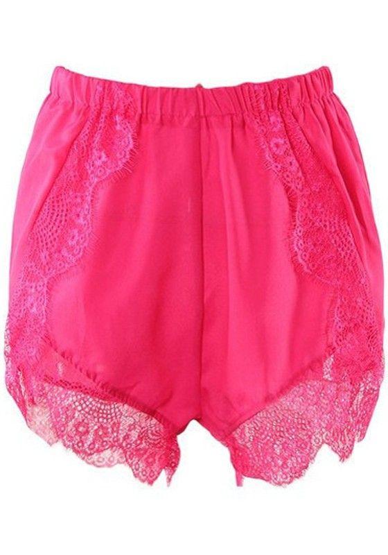 Red Patchwork Lace Chiffon Shorts #chiffonshorts