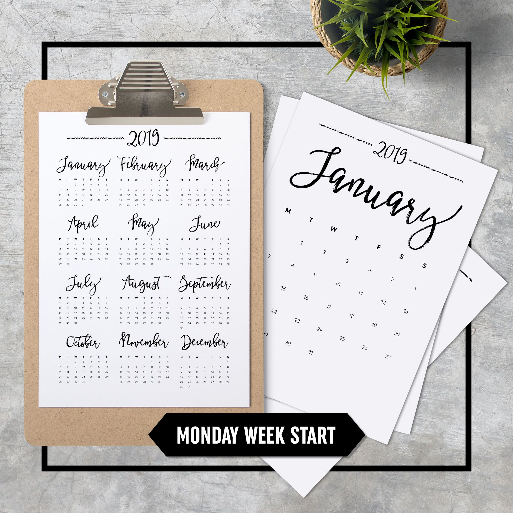 Calendar A4 Printable Minimalistic Monday Week