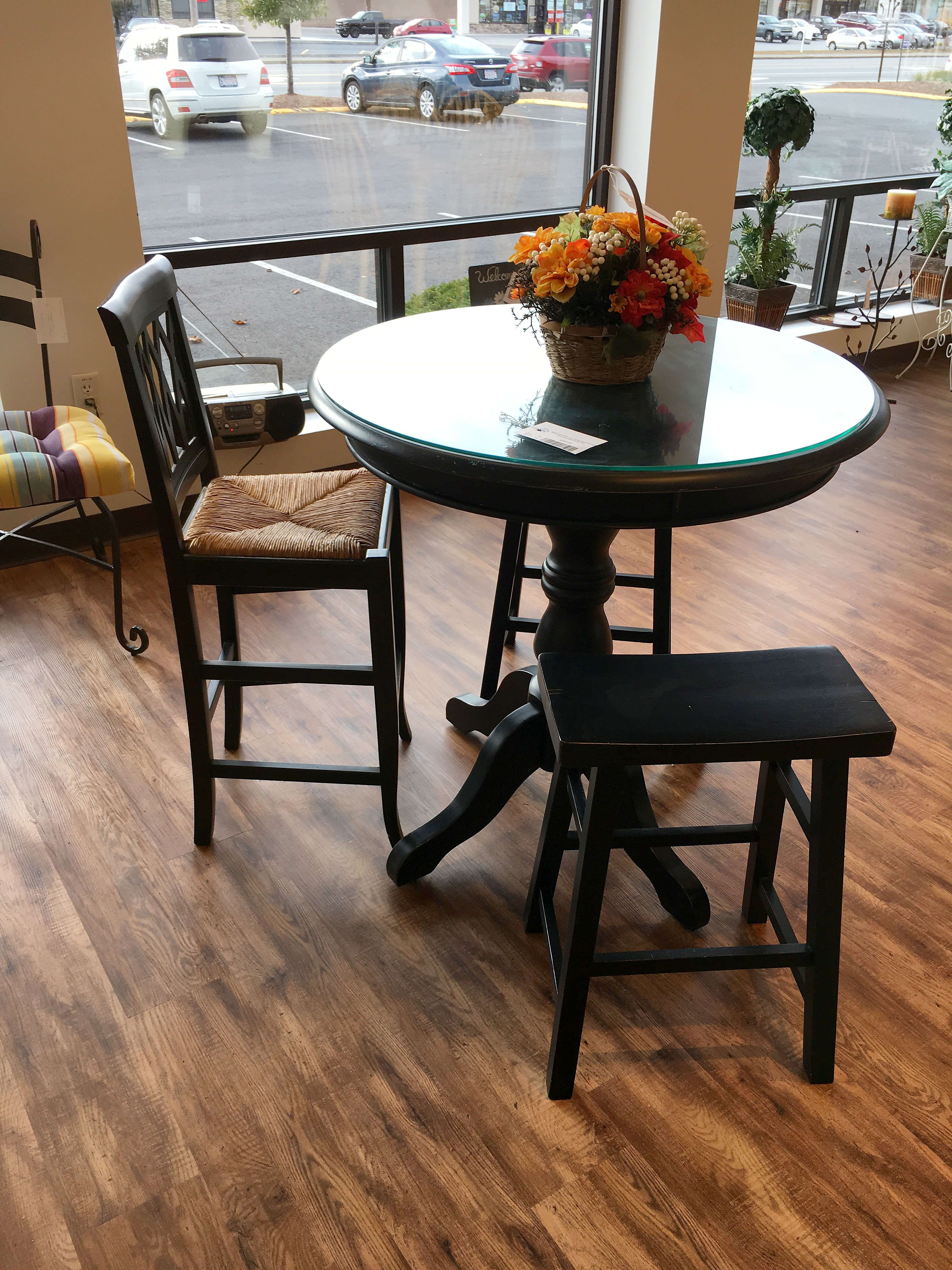 Black Pub Table Two Saddle Benches And One Stool With